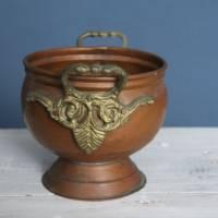 Vintage Übertopf Kupfer mit Griffen Bild 3
