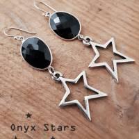 Ohrringe Silber 925 Onyx schwarz oval XL Ohrhänger Sterne versilbert lang Geschenk Frauen Bild 1