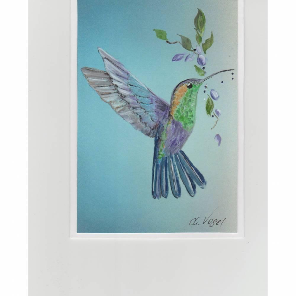 Grußkarte / Glückskarte-  Kolibri-  handgemalt Bild 1