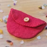 Geldbörse, Mini Tasche, Portemonnaie, Geldbeutel, Innentasche, Filztasche, handgefilzt, rot Bild 1