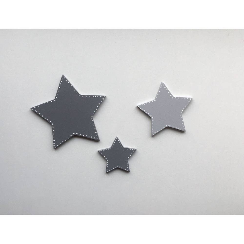 Sterne 3er Set, Holz, passend zu den Buchstaben, Farbauswahl Bild 1