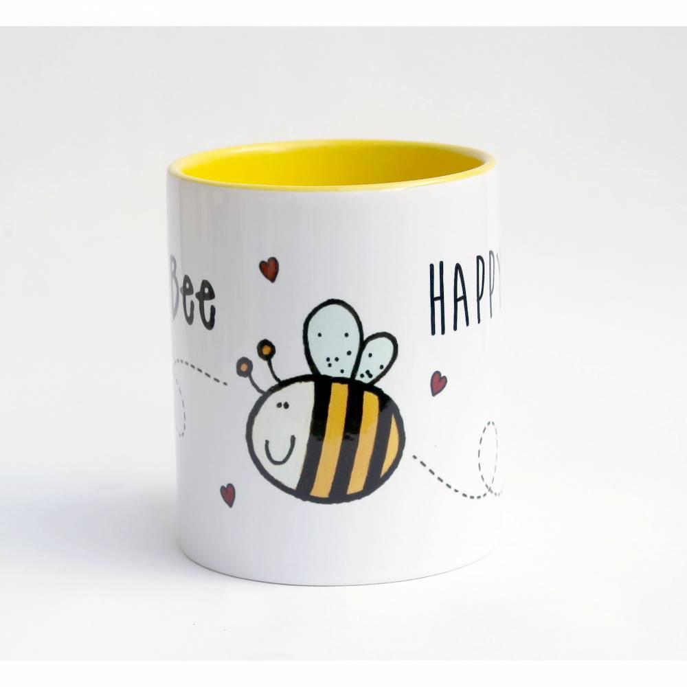 Kaffeetasse Keramiktasse Biene Bee Happy Motivation Gelb Einführungspreis Bild 1
