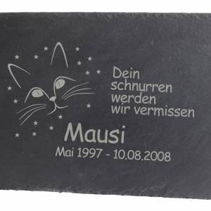 Gedenktafel Grabstein Grabplatte für Ihr Haustier aus Schiefer mit Laser Gravur ca. 30 x 20 cm Katze Schönes Andenken Bild 1