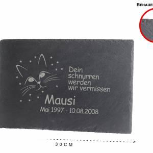 Gedenktafel Grabstein Grabplatte für Ihr Haustier aus Schiefer mit Laser Gravur ca. 30 x 20 cm Katze Schönes Andenken Bild 2