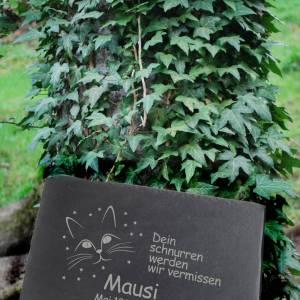 Gedenktafel Grabstein Grabplatte für Ihr Haustier aus Schiefer mit Laser Gravur ca. 30 x 20 cm Katze Schönes Andenken Bild 3