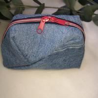 Kleines Kosmetiktäschchen Schminktäschchen Geo-Bag Jeans Upcycling  Bild 1
