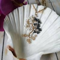 Lebensbaum im Ying Yang Look - Anhänger Freischwebend mit Rocailles Perlen aus Kupferdraht im Goldton mit Kette  Bild 1