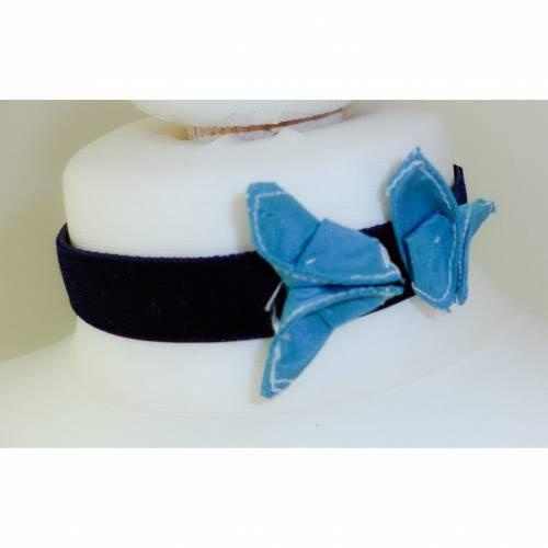 Handgemachtes Kropfband Schmetterling blau Halsband