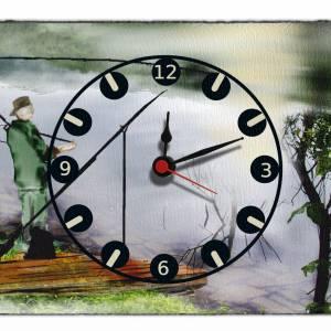 Wanduhr aus Naturstein Schiefer mit Quarz-Uhrwerk Design Angler 30x20cm Wanddeko Geschenkidee Hobby Angeln Bild 1