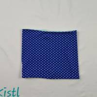 Schlauchschal / Schlupfschal / Loop / Halswärmer Gr. L aus Jersey, warm gefüttert, blau mit weißen Punkten Bild 1