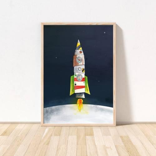 niedliches Kinderzimmer-Poster Rakete *Feuerrakete im Weltraum* umwelfreundlicher Druck