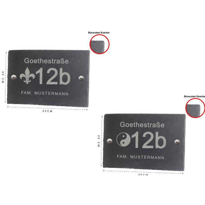 Hausnummer Türschild Personalisiert Schiefer schwarz anthrazit Namensschild BK 30x20cm 2 Motive Bild 1