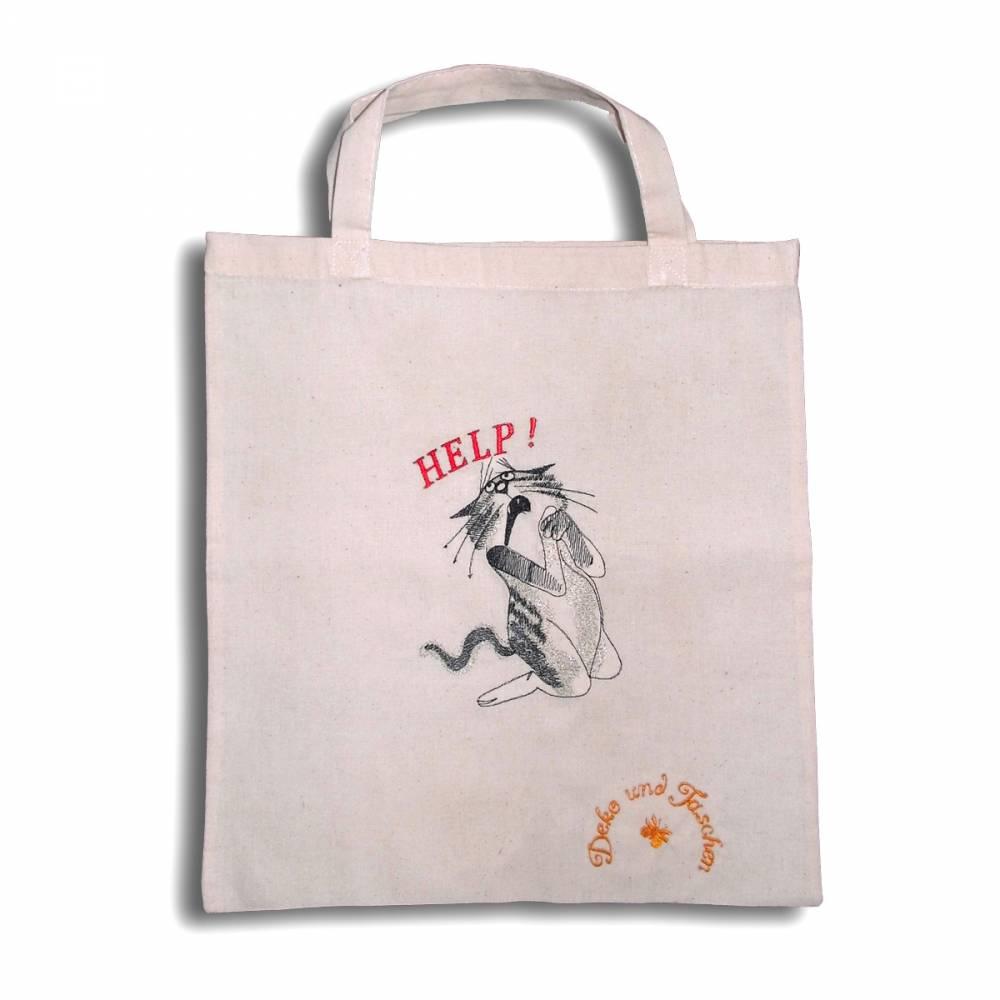Stoffbeutel Einkaufsbeutel bestickte Baumwolltasche Tragetasche statt Plastik mit witzigen Comic-Figuren Katze Help Bild 1