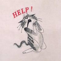Stoffbeutel Einkaufsbeutel bestickte Baumwolltasche Tragetasche statt Plastik mit witzigen Comic-Figuren Katze Help Bild 2
