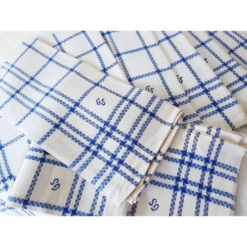 Handtücher, Geschirrtücher aus Leinen, blau-weiß kariert mit Monogramm GS - unbenutzt