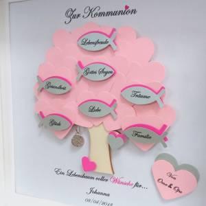 Geschenk Kommunion, Konfirmationsgeschenk, Mädchen, Patenkind, Lebensbaum, individuelles Geschenk,personalisiert Bild 4