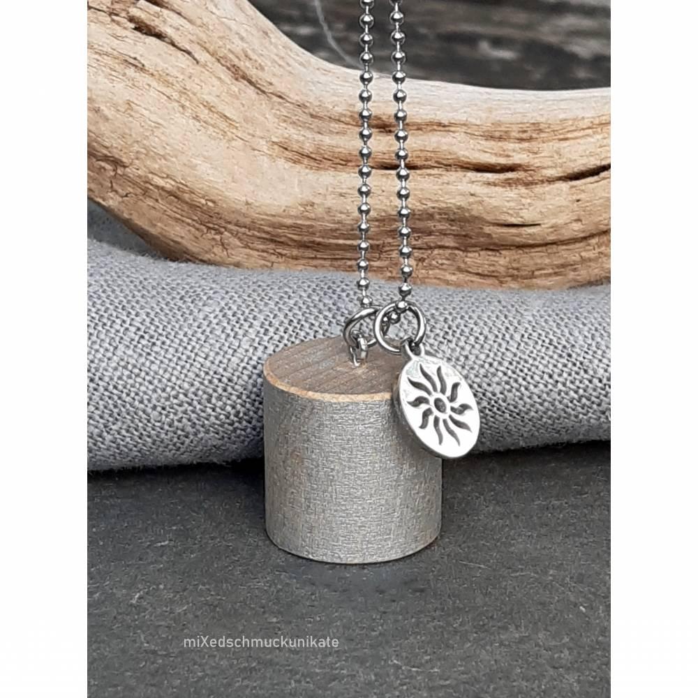 """Kette, Holzanhänger in Silber """"Zylinder"""" Bild 1"""