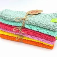Spültücher, Spüllappen gehäkelt 100%Baumwolle, Wunschfarbe  Bild 2