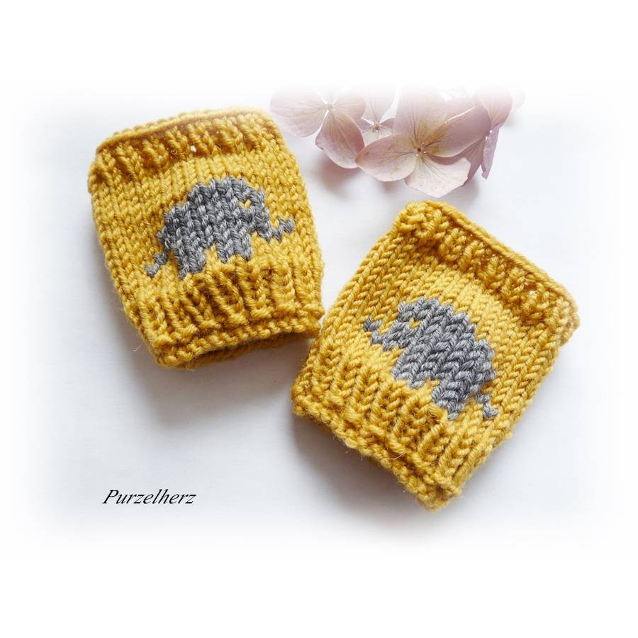 Handgestrickte Armstulpen/Pulswärmer mit Elefant für Baby´s/Neugeborene - Handstulpen,Geschenk,Taufe,Junge,Mädchen Bild 1