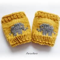 Handgestrickte Armstulpen/Pulswärmer mit Elefant für Baby´s/Neugeborene - Handstulpen,Geschenk,Taufe,Junge,Mädchen Bild 2