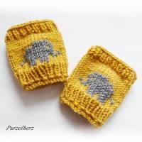 Handgestrickte Armstulpen/Pulswärmer mit Elefant für Baby´s/Neugeborene - Handstulpen,Geschenk,Taufe,Junge,Mädchen Bild 3