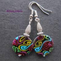Perlmutt Ohrhänger Hippie bunt silberfarben Ohrringe Perlmuttohrringe Bild 1