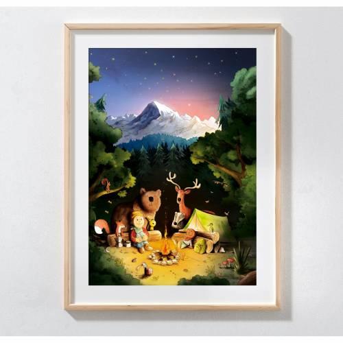 A3 Kinderzimmer-Poster *Freunde am Lagerfeuer*, lustiges Poster, niedliche Illustration, Kinderbild, Kinderwandkunst
