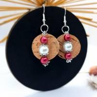 Ohrring aus Weinkorken mit Perlen  Bild 1