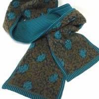 Wende-Schal aus flauschigem Bio-Wollwalk mit petrol-grün-türkisem Blumenmuster, kompl.gefüttert mit Baumwoll-Jersey  Bild 1