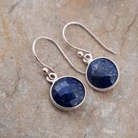 Ohrringe 925 Silber mit Lapislazuli blau rund Ohrhänger Geschenk Frauen Geschenk-Box Bild 1