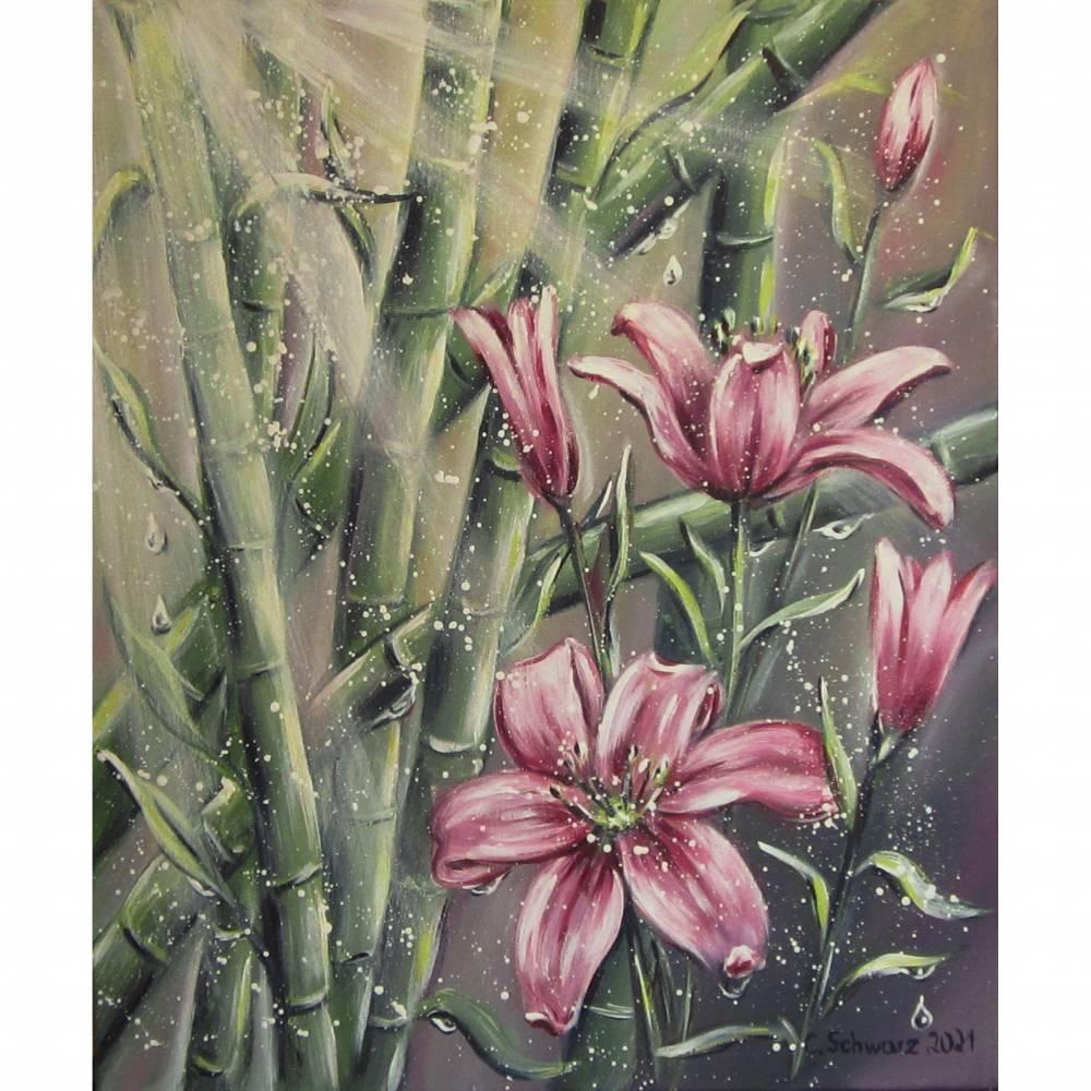 EXOTISCHE LILIEN - wunderschönes Blumenbild mit Lilienblüten und Bambus 50cmx60cm - Feng Shui Bild Bild 1