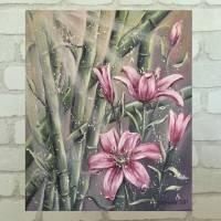 EXOTISCHE LILIEN - wunderschönes Blumenbild mit Lilienblüten und Bambus 50cmx60cm - Feng Shui Bild Bild 2