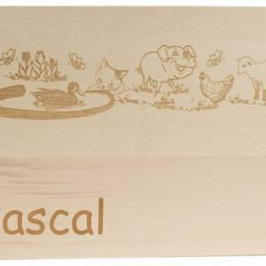 Frühstücksbrettchen mit Namen GRAVUR Kinder Holz XXL groß 31x21cm Motiv Bauernhof Geschenkidee Geburtstag Einschulung Bild 1