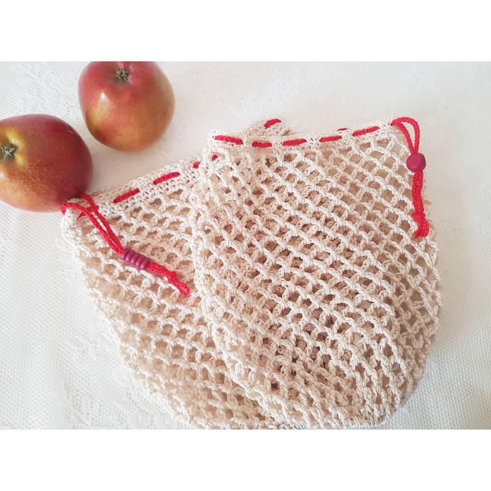 Ostbeutel, Gemüsebeutel, gehäkelt aus Baumwolle, beige, creme, Häkelnetz, Häkeltasche - Handarbeit - zero waste Bild 1