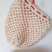Ostbeutel, Gemüsebeutel, gehäkelt aus Baumwolle, beige, creme, Häkelnetz, Häkeltasche - Handarbeit - zero waste Bild 3