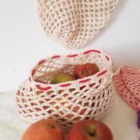 Ostbeutel, Gemüsebeutel, gehäkelt aus Baumwolle, beige, creme, Häkelnetz, Häkeltasche - Handarbeit - zero waste Bild 4