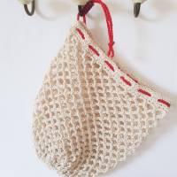 Ostbeutel, Gemüsebeutel, gehäkelt aus Baumwolle, beige, creme, Häkelnetz, Häkeltasche - Handarbeit - zero waste Bild 5