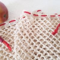 Ostbeutel, Gemüsebeutel, gehäkelt aus Baumwolle, beige, creme, Häkelnetz, Häkeltasche - Handarbeit - zero waste Bild 6