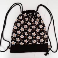 Stoffrucksack, Sportbeutel mit Kordelzug, Baumwolle Blumen Bild 2
