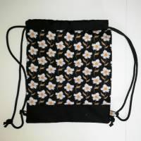 Stoffrucksack, Sportbeutel mit Kordelzug, Baumwolle Blumen Bild 3