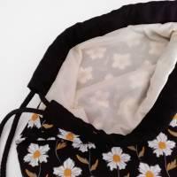 Stoffrucksack, Sportbeutel mit Kordelzug, Baumwolle Blumen Bild 5