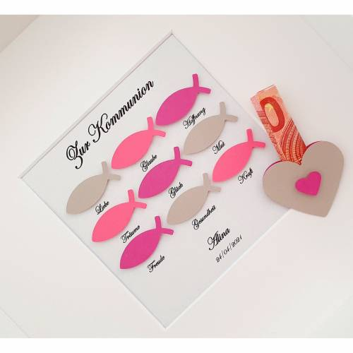 Geldgeschenk Kommunion Mädchen, Kommunion Geschenk Mädchen, Kommunion Geschenk Patenkind, personalisierter Bilderrahmen