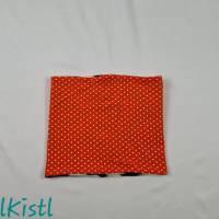 Schlauchschal / Schlupfschal / Loop / Halswärmer Gr. L aus Jersey, warm gefüttert, orange mit weißen Punkten Bild 1