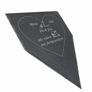 Gedenktafel Grabstein Grabschmuck Grab Schieferplatte mit Trauerspruch Grabplatte Mein Herz...für einen geliebten Mensch Bild 1