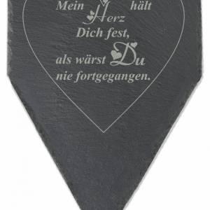 Gedenktafel Grabstein Grabschmuck Grab Schieferplatte mit Trauerspruch Grabplatte Mein Herz...für einen geliebten Mensch Bild 2