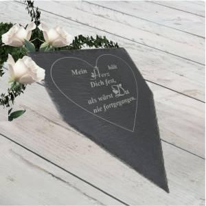 Gedenktafel Grabstein Grabschmuck Grab Schieferplatte mit Trauerspruch Grabplatte Mein Herz...für einen geliebten Mensch Bild 3