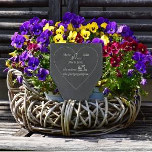 Gedenktafel Grabstein Grabschmuck Grab Schieferplatte mit Trauerspruch Grabplatte Mein Herz...für einen geliebten Mensch Bild 5