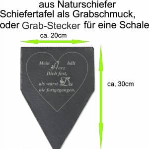 Gedenktafel Grabstein Grabschmuck Grab Schieferplatte mit Trauerspruch Grabplatte Mein Herz...für einen geliebten Mensch Bild 6