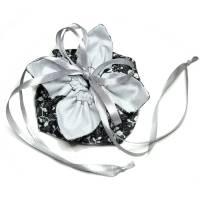 Geschenkverpackung *Blümchen schwarz Silbergrau* Baumwolle, wiederverwendbar, no waste, waschbar Bild 1