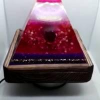 Lampe aus Resin Pyramide mit echten Blumen (Handmade, Unikat) Bild 4